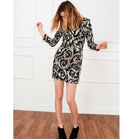 07f1ec475ca Anine Bing Black   Gold Brocade Dress NWT